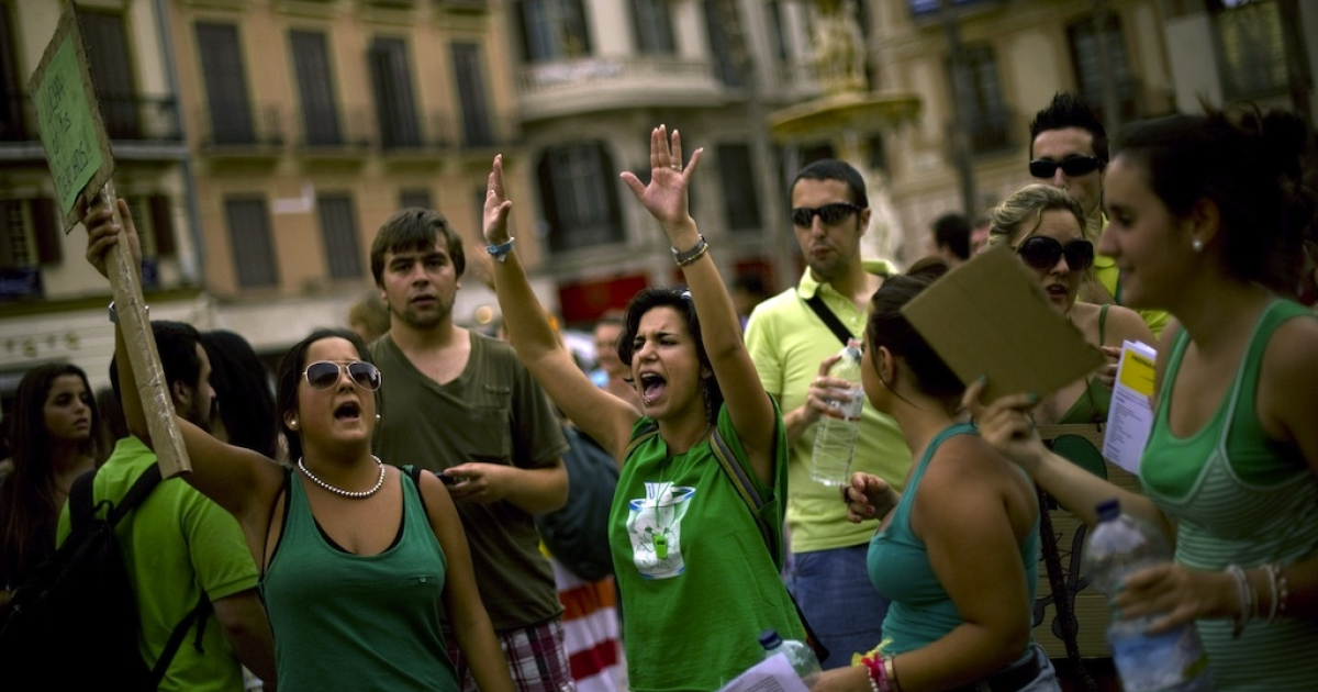 Students demonstrate during a protest against austerity measures in education on June 7, 2012 in Malaga.</p>