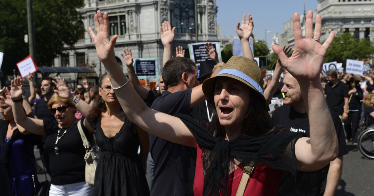 Government employees demonstrate against the Spanish government's latest austerity measures, in the center of Madrid, on July 27, 2012. Spain's unemployment rate has hit a new high of 25 percent, leaving 5.7 million Spaniards out of work.</p>