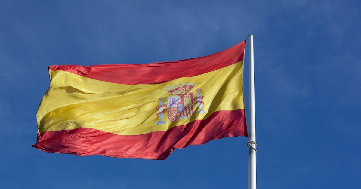 The Spanish flag in Colon Square, Madrid.</p>