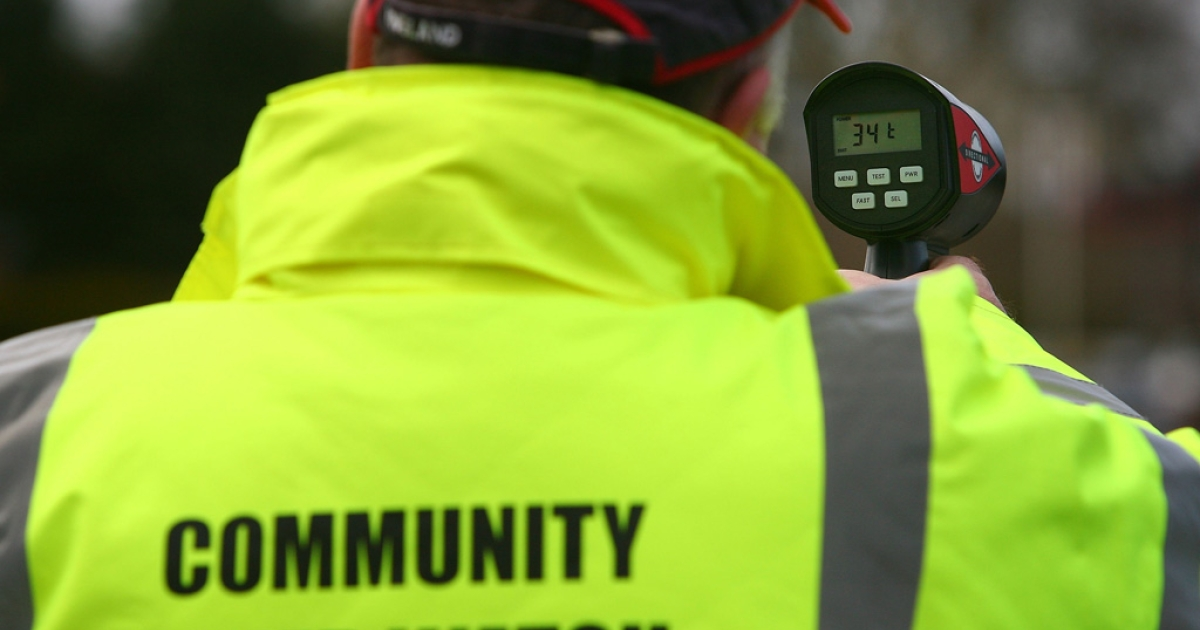 Community Speed Watch volunteers track and record the speed of drivers through the village of Church Minshull in Cheshire, England.</p>