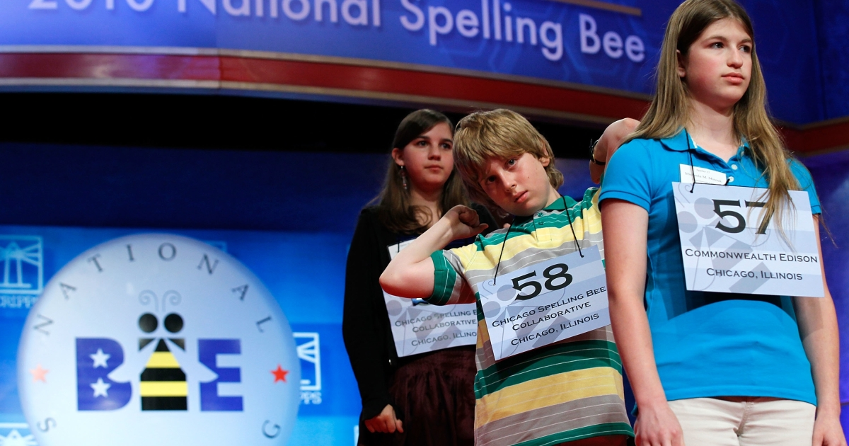 Spellers from Illinois (left to right, Devora Klionsky of Chicago, Christopher S. Rupprecht of Chicago, and Michaela M. Minock of Peotone) wait for their turns during the 2010 Scripps National Spelling Bee competition on June 3, 2010.</p>