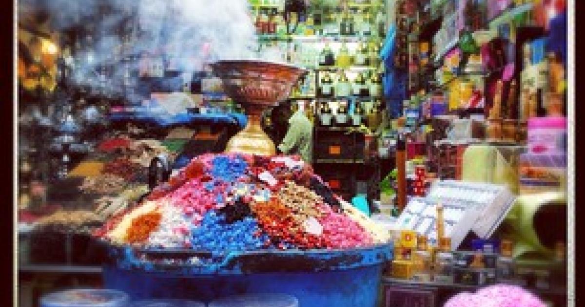 A spice shop in Cairo's Khan al Khalili, a market built in 1382 by a Mamluk sultan.</p>