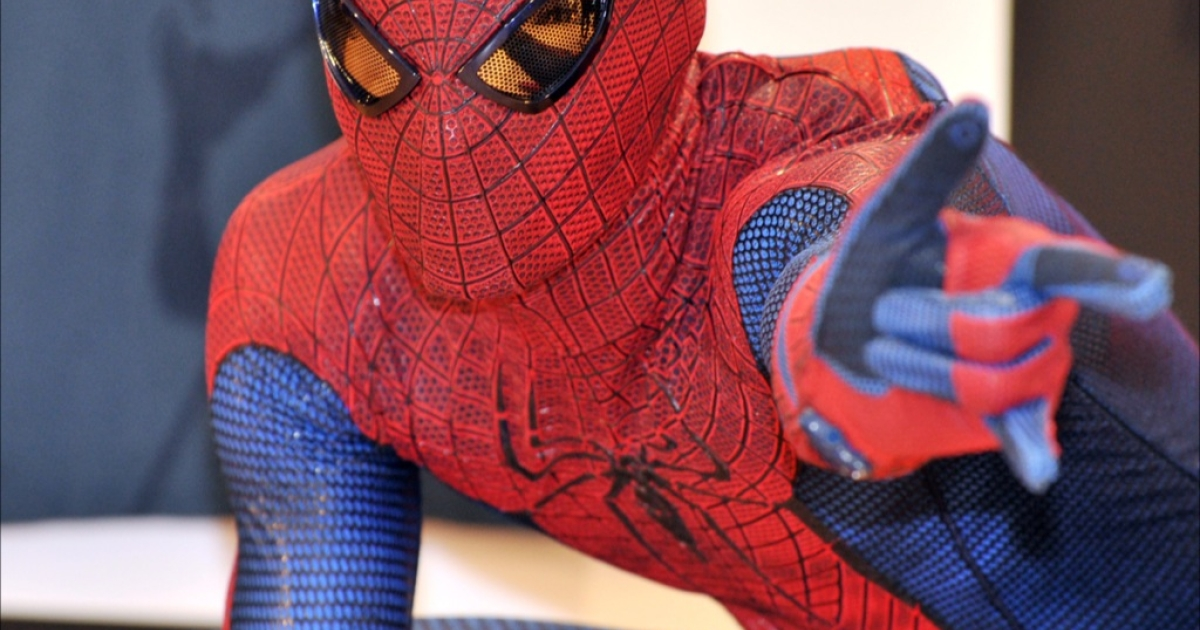 The alleged thief was caught after a short foot pursuit dressed as Spider-Man.</p>