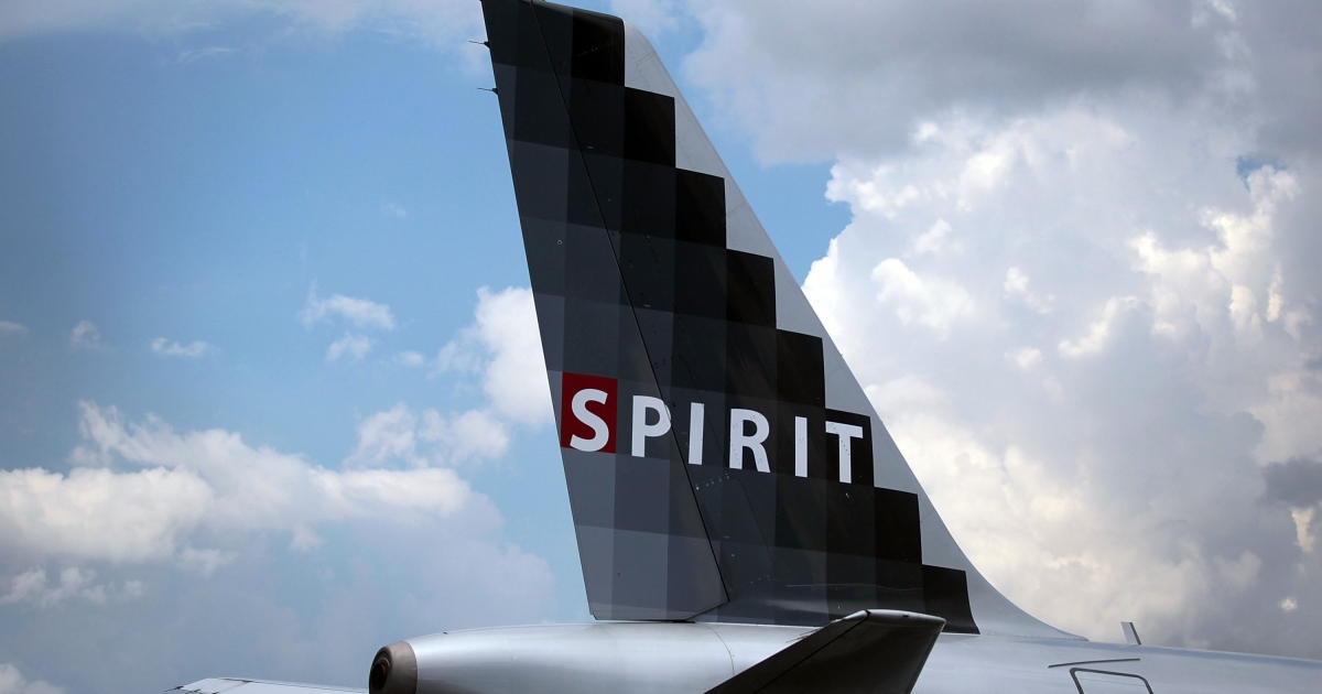 A Spirit Airlines Inc. plane on the tarmac at the Fort Lauderdale International Airport.</p>