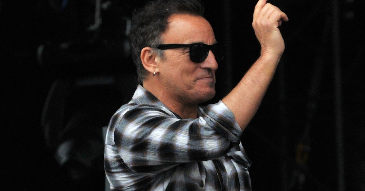 Bruce Springsteen appears on stage at Hard Rock Calling at Hyde Park on July 14, 2012 in London, England.</p>