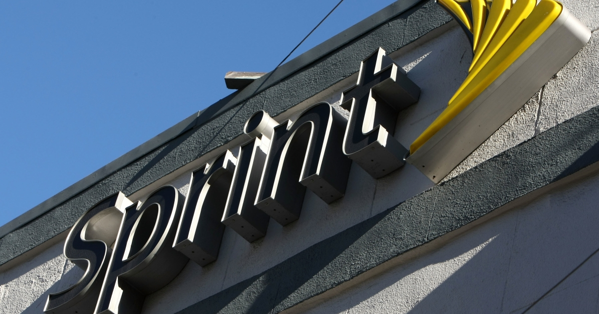 The Sprint logo is displayed on the front of a Sprint retail store in San Francisco, Calif., on Jan. 26, 2009.</p>