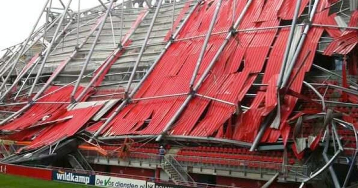 Part of a roof collapsed at the FC Twente football stadium in eastern Netherlands on Thursday July 7, trapping an unknown number of people.</p>