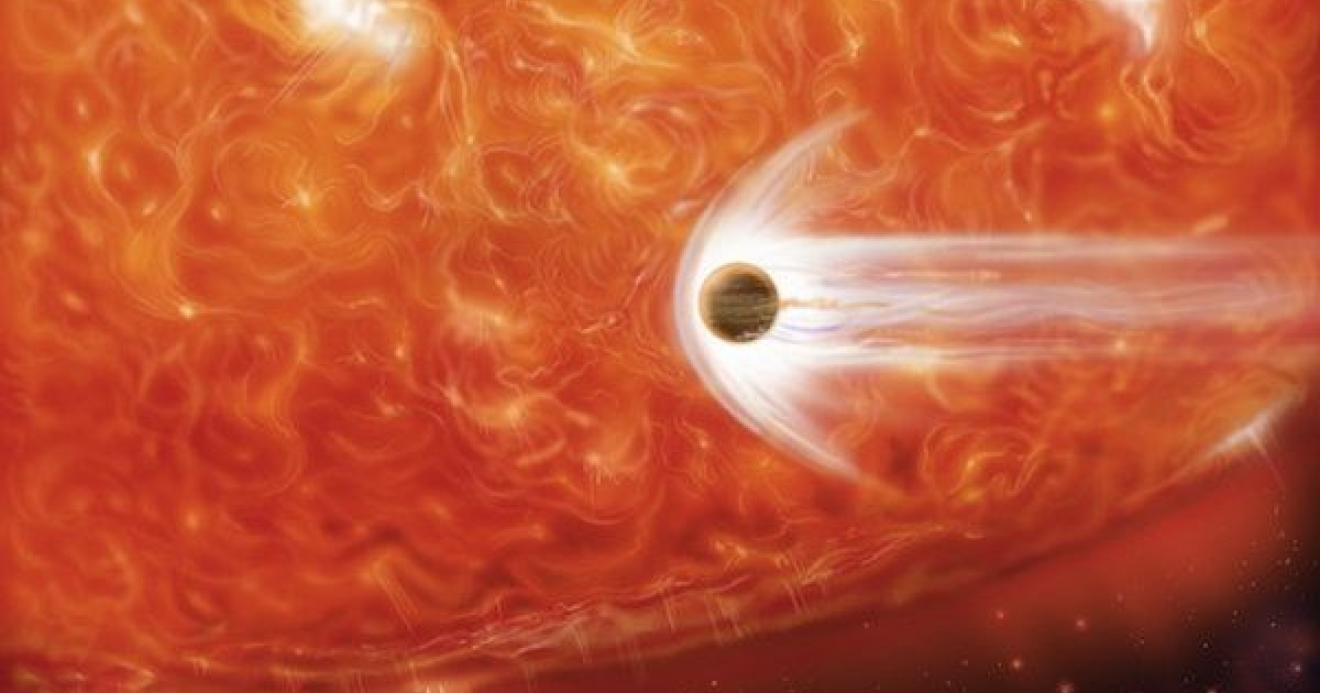 An artist's rendering of an aging red giant star consuming one of its planets.</p>