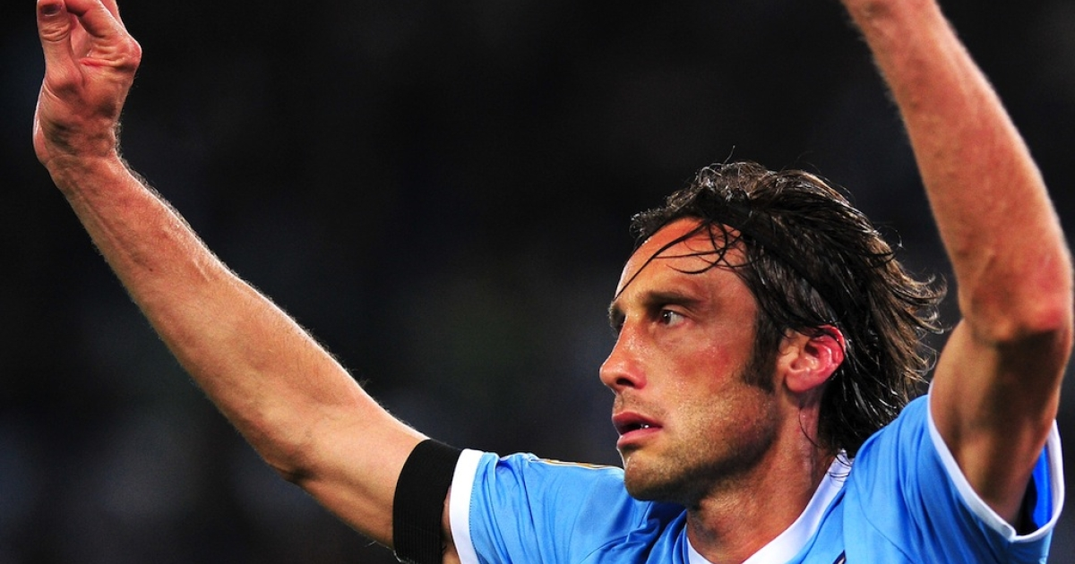 Lazio midfielder Stefano Mauri during the Italian Serie A football match between Lazio and Napoli at the Olympic Stadium in Rome on April 7, 2012. Mauri was was arrested early May 28 over the so-called Calcioscommesse sports betting scandal.</p>