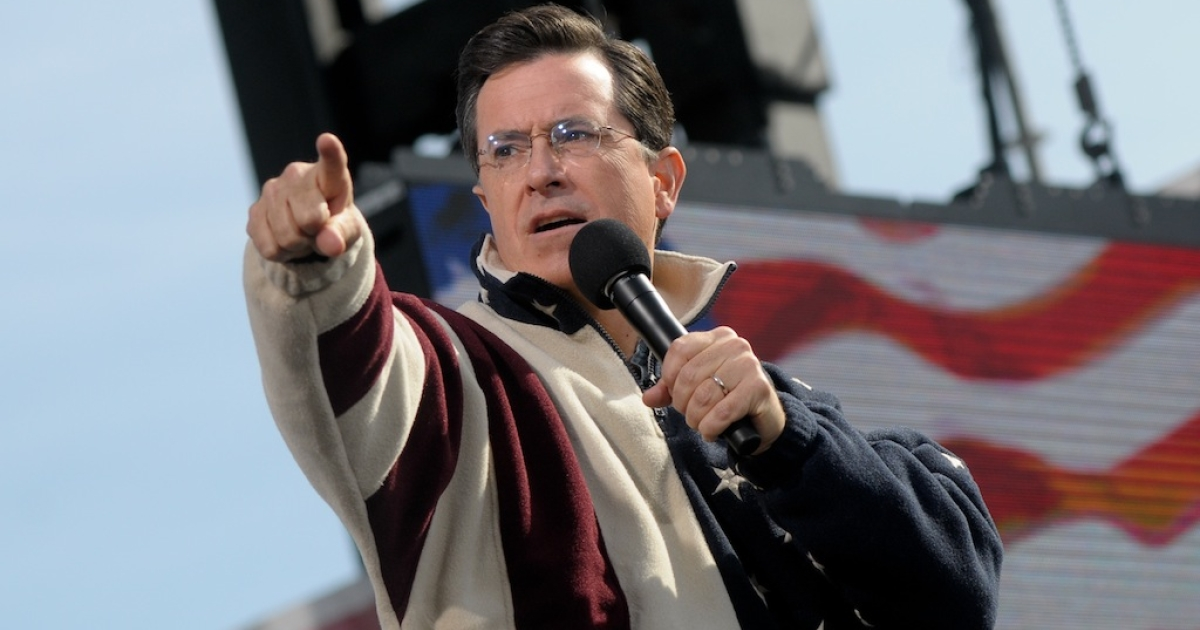 Stephen Colbert speaks during the 'Rally to Restore Sanity and/or Fear' on the National Mall on October 30, 2010 in Washington, DC.</p>