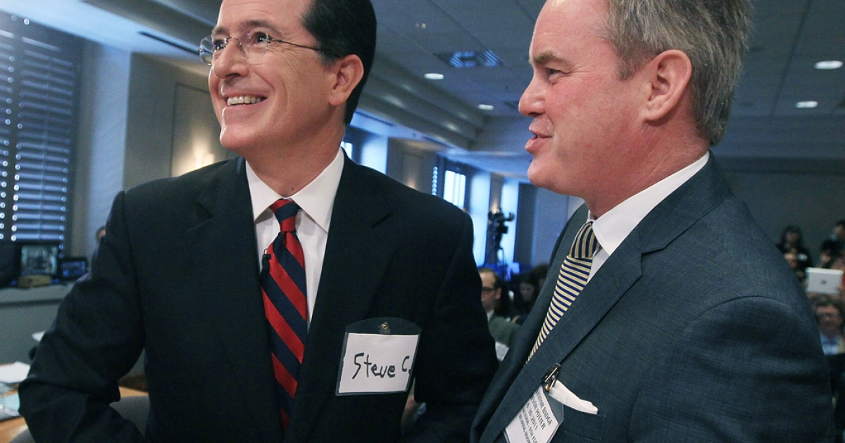 WASHINGTON, DC - JUNE 30: Comedian Stephen Colbert (L) stands with his attorney Trevor Potter during an appearance before the Federal Election Commission (FEC) to ask for a media exemption to create a political action committee (PAC) on June 30, 2011 in Washington, DC. Colbert was given the go ahead from the FEC to launch a super political action committee to raise unlimited amounts of campaign cash for the upcoming 2012 political season.  (Photo by Mark Wilson/Getty Images)</p>