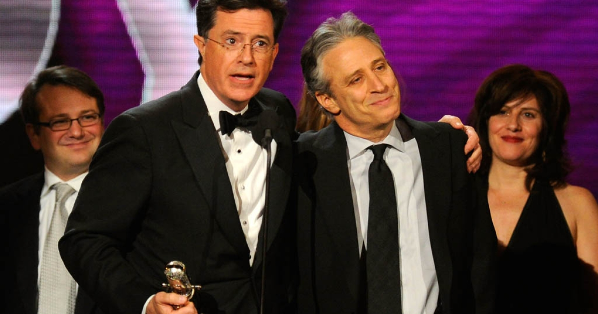 NEW YORK, NY - MARCH 26:  Stephen Colbert and Jon Stewart speak onstage at the First Annual Comedy Awards at Hammerstein Ballroom on March 26, 2011 in New York City. Stewart and Colbert renew their contracts with Viacom Inc network, Comedy Central. (Photo by Dimitrios Kambouris/Getty Images)</p>