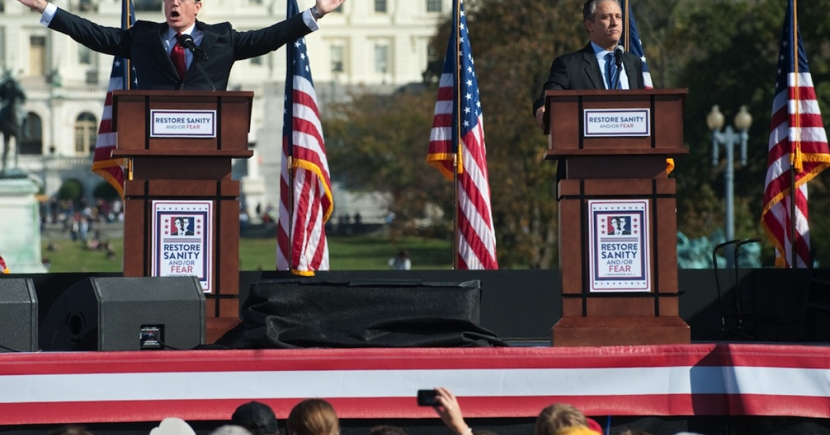 Comedy Central comedians and television hosts Jon Stewart (R) and Stephen Colbert (L) hold a mock debate during the 'Rally to Restore Sanity And/Or Fear' on the National Mall in Washington, DC, October 30, 2010. This time, however, Stewart will take on Bill O'Reilly in a 90 minute debate that will, presumably, provide more serious discussion than jokes.</p>