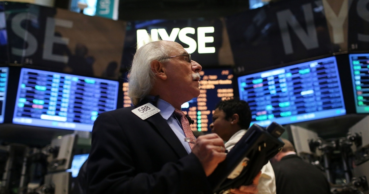 A trader on the floor of the New York Stock Exchange Jan. 2, 2013 in New York City.</p>
