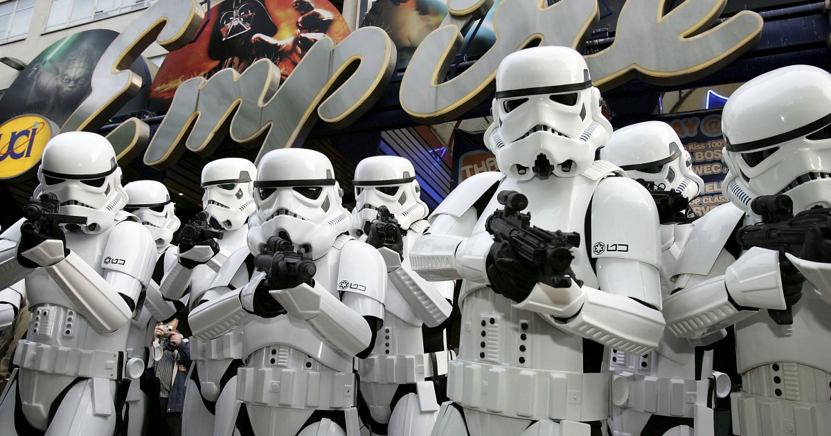 LONDON - MAY 16:  Storm Troopers parade outside the Empire cinema to celebrate the London premiere of the final part of the Star Wars series, and the first ever screening of the entire six-film Star Wars saga, in Leicester Square on May 16, 2005 in London, England. The Empire Leicester Square</p>