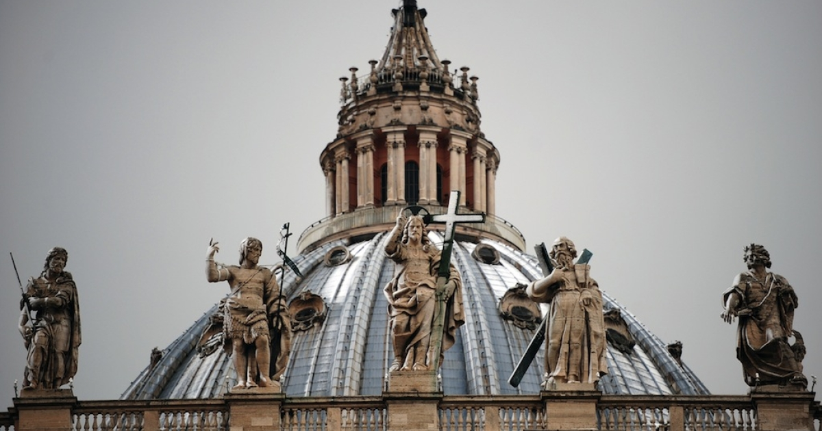 An Italian man defied gravity by scaling the 426-foot high dome of St. Peter's Basilica in Rome to protest economic conditions in Italy.</p>