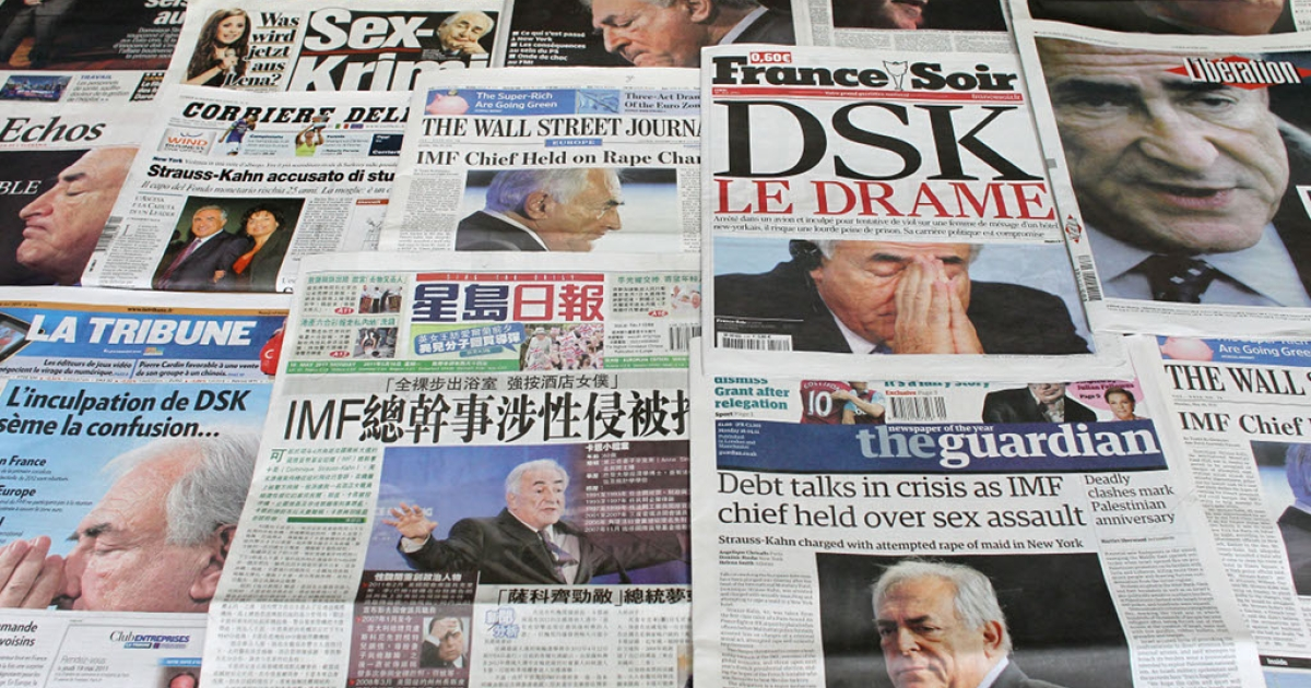 The front pages of French and foreign newspapers on May 16 in Paris, showing IMF chief Dominique Strauss-Kahn, who has been indicted for allegedly sexual assaulting a 32-year-old chambermaid from Guinea at the luxury Sofitel hotel near New York's Time Square.</p>