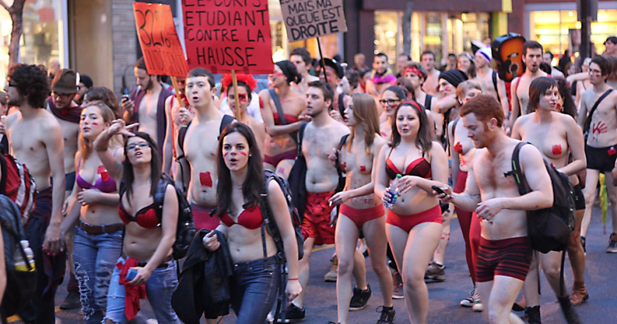Thousands of students opposed to higher tuition paraded in various states of undress through the streets of Montreal in opposition to tuition hikes on Thursday. The Quebec government called an emergency meeting today as the 'strike' stretched into a third month.</p>