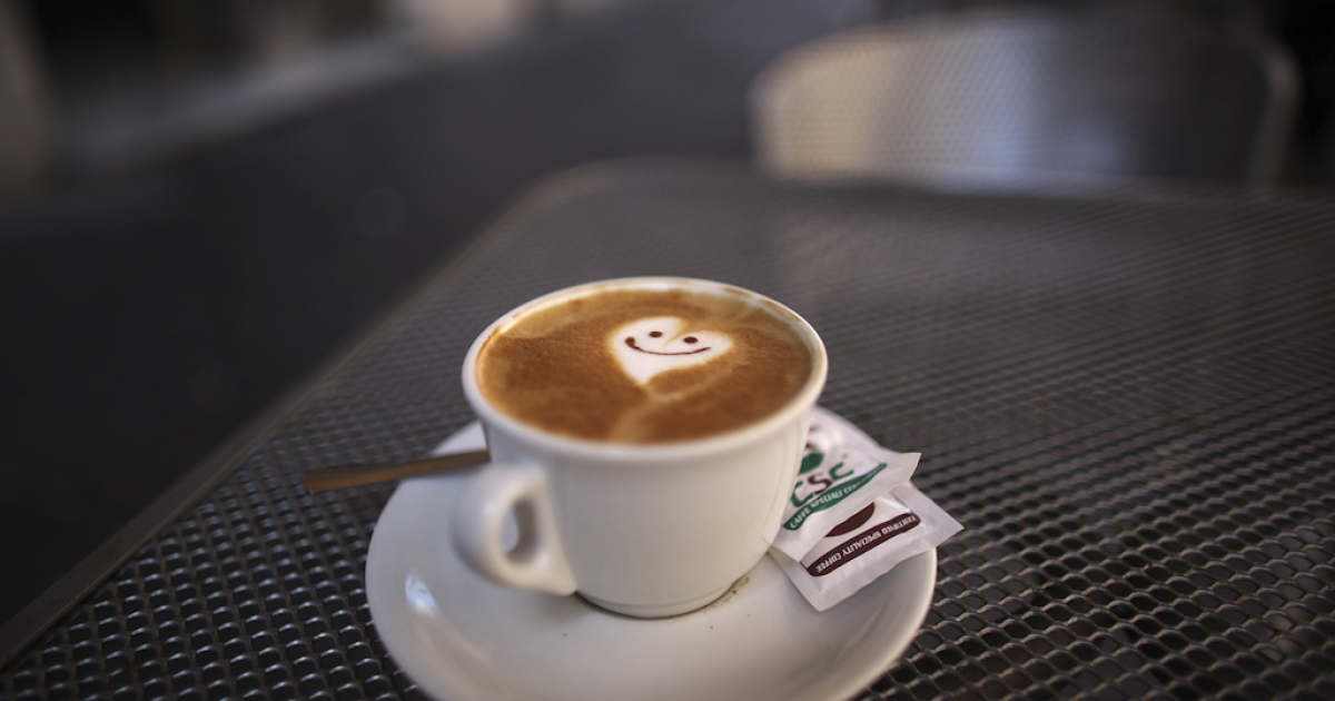 A smiley face and heart adorns the froth of a cappuccino reflecting the romance of Rome on July 9, 2009 in Rome, Italy. With nearly 3000 years of history Rome continues to live up to its motto of The Eternal City for being one of the founding cities of Western Civilization.</p>