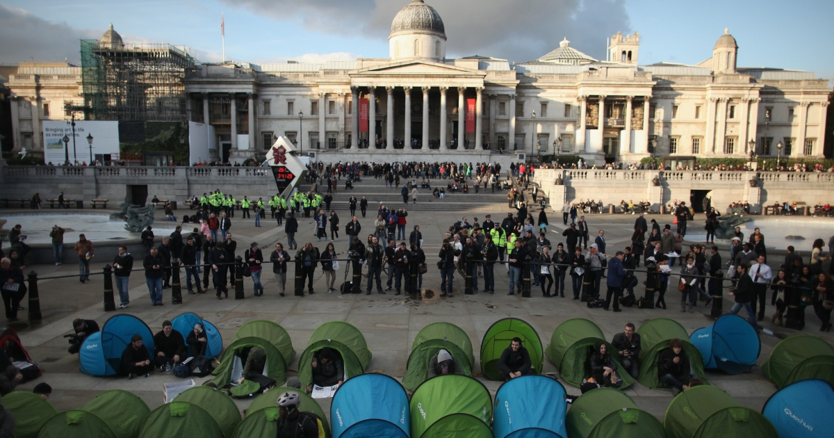 Students marched through London, protesting tuition hikes. Some pitched about 20 tents in Trafalgar Square.</p>