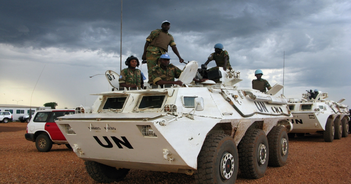 Soldiers from the UN peacekeeping in Abyei, Sudan, in May 23, 2008. More than 100,000 people have been displaced from the town by recent fighting.</p>