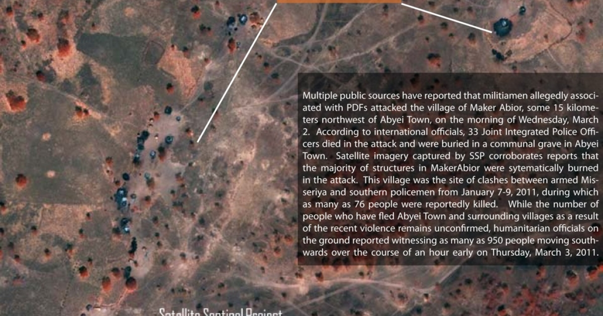 This satellite image of the village of Maker Abior in the Abyei region of Sudan was taken on March 3, 2011, and analyzed for the Satellite Sentinel Project by Harvard Humanitarian Initiative and UNITAR/UNOSAT. It was shot in false infrared to give more contrast to the burned structures. Approximately 20 out of an apparent 24 civilian structures, consistent with Sudan's traditional civilian dwellings known as tukuls, appear to be burned. The absence of scorched ground vegetation or trees is indicative of apparent arson, and is consistent with reports stating that the village was burned by armed Misseriya militia on March 2.</p>