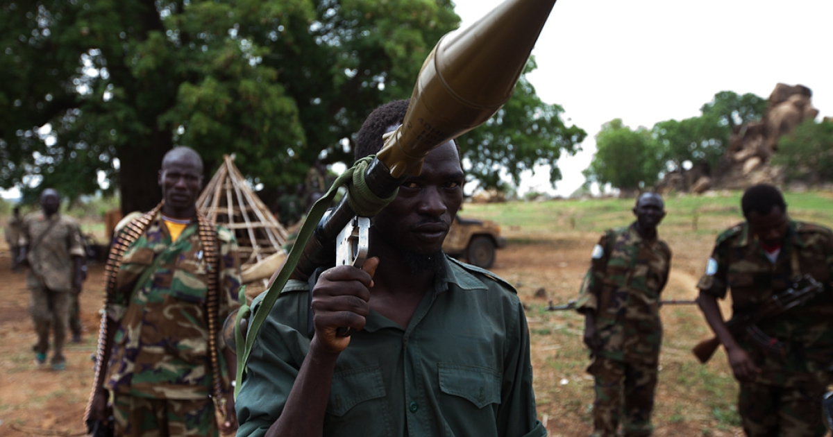 Rebels from the Sudan People's Liberation Army-North (SPLA-North) near Dalami, South Kordofan province, show off a rocket propelled grenade launcher they captured in a recent battle with the northern Sudan Armed Forces.</p>