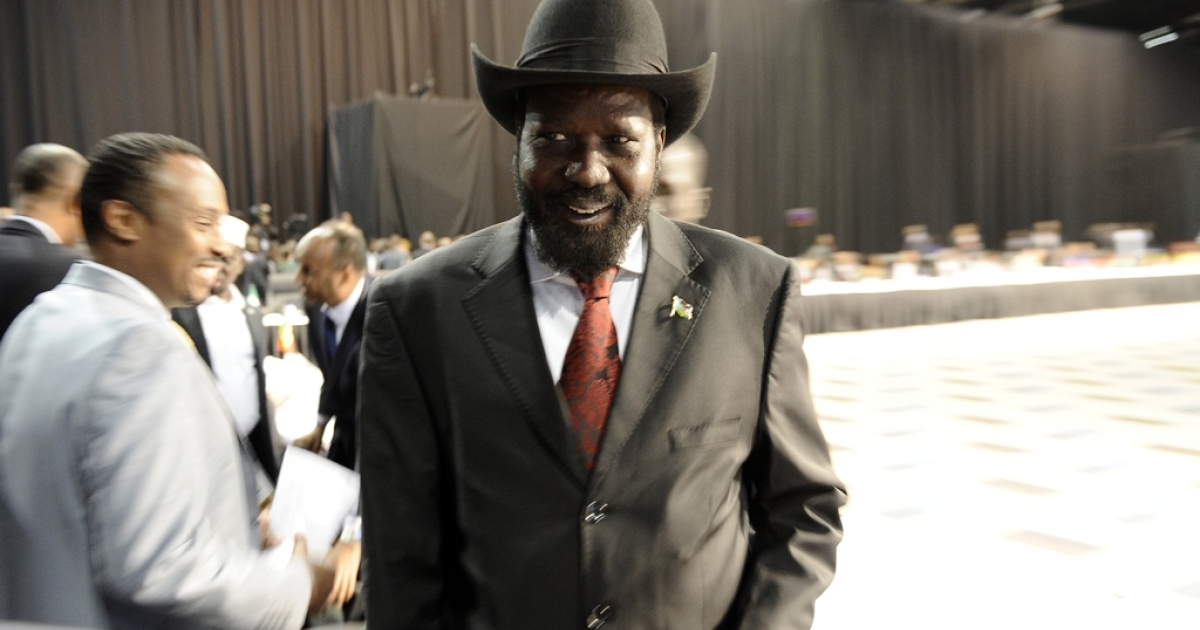 South Sudan President Salva Kiir has appealed to top officials to return $4 billion in stolen cash. Here, Kiir arrives at the opening ceremony of the African Union's Global African Diaspora Summit on May 25, 2012 in Johannesburg</p>