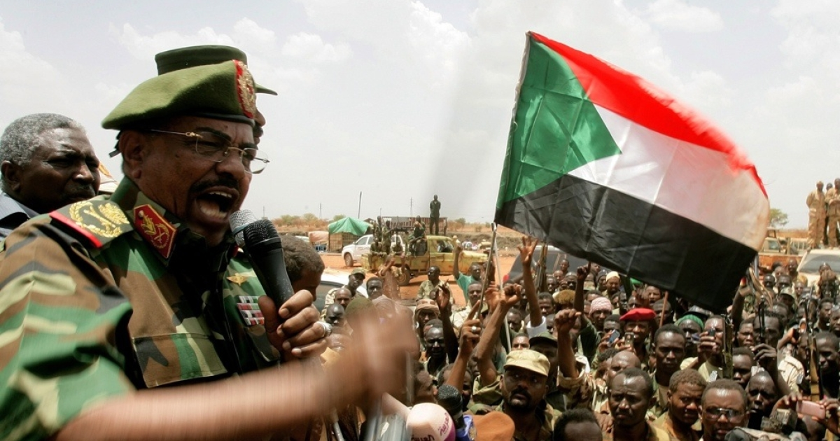 Sudan President Omar al-Bashir addresses troops during his visit to Sudan's main petroleum center of Heglig on April 23, 2012 after the South Sudan withdrew. Bashir said Sudan will crush the