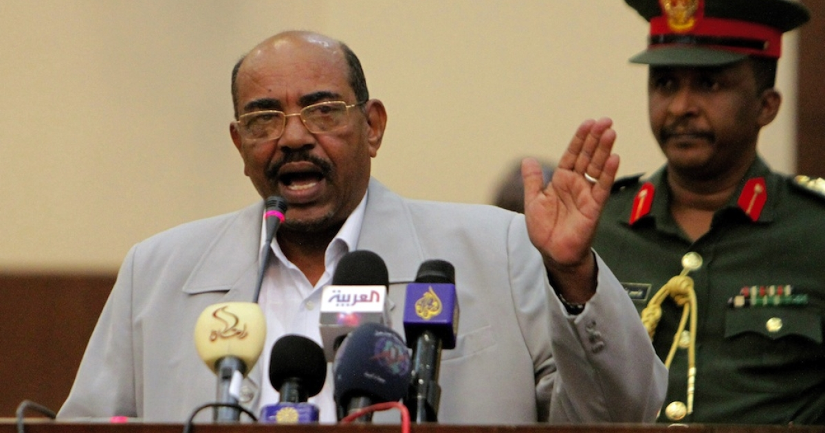 Sudanese President Omar al-Bashir speaks to the press on Oct. 30, 2011, in Khartoum.  Bashir is the only sitting president wanted by the ICC for war crimes.</p>