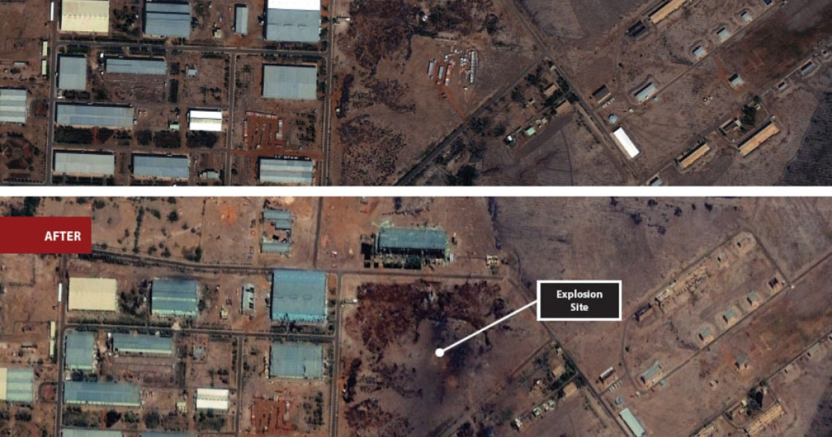 The Yarmouk arms factory in Khartoum, Sudan exploded and caught fire on Wednesday, and the Satellite Sentinel Project released before and after photos on October 27, 2012, that appear to prove the destruction came from an airstrike.</p>