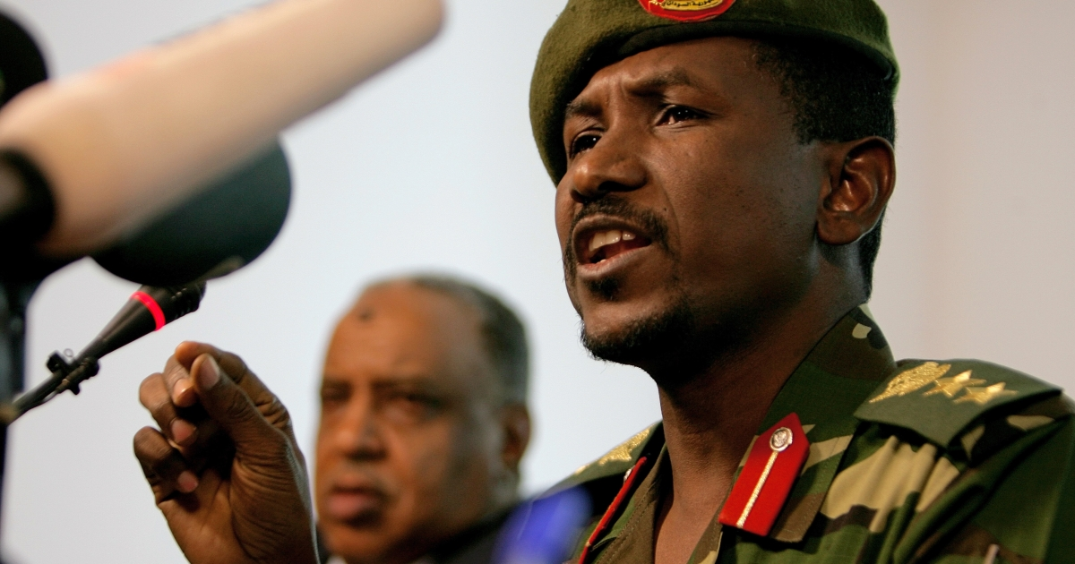Sudanese army spokesman Sawarmi Khaled Saad speaks during a press conference in Khartoum on Dec. 25, 2011. Sudan's army killed key rebel leader Khalil Ibrahim and 30 of his Darfur-based troops in a battle which was still continuing, officials said, after rebels announced an advance towards the capital.</p>