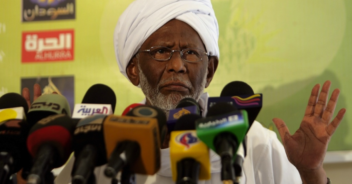 Sudan's Islamist opposition leader Hassan al-Turabi addresses the media in Khartoum following his release on January 5, 2012 after more than three months in jail. The veteran politician, who was arrested in January shortly after warning of a Tunisia-style uprising, was defiant following his release, saying he was never investigated or charged, and again calling for a revolution in Sudan 'against corruption.'</p>