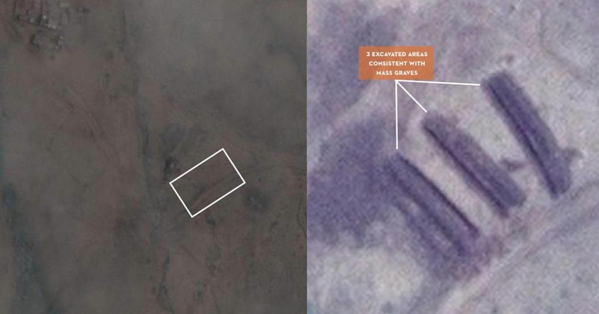 A possible mass grave near Tilo School in Kadugli, South Kordofan province, Sudan.</p>