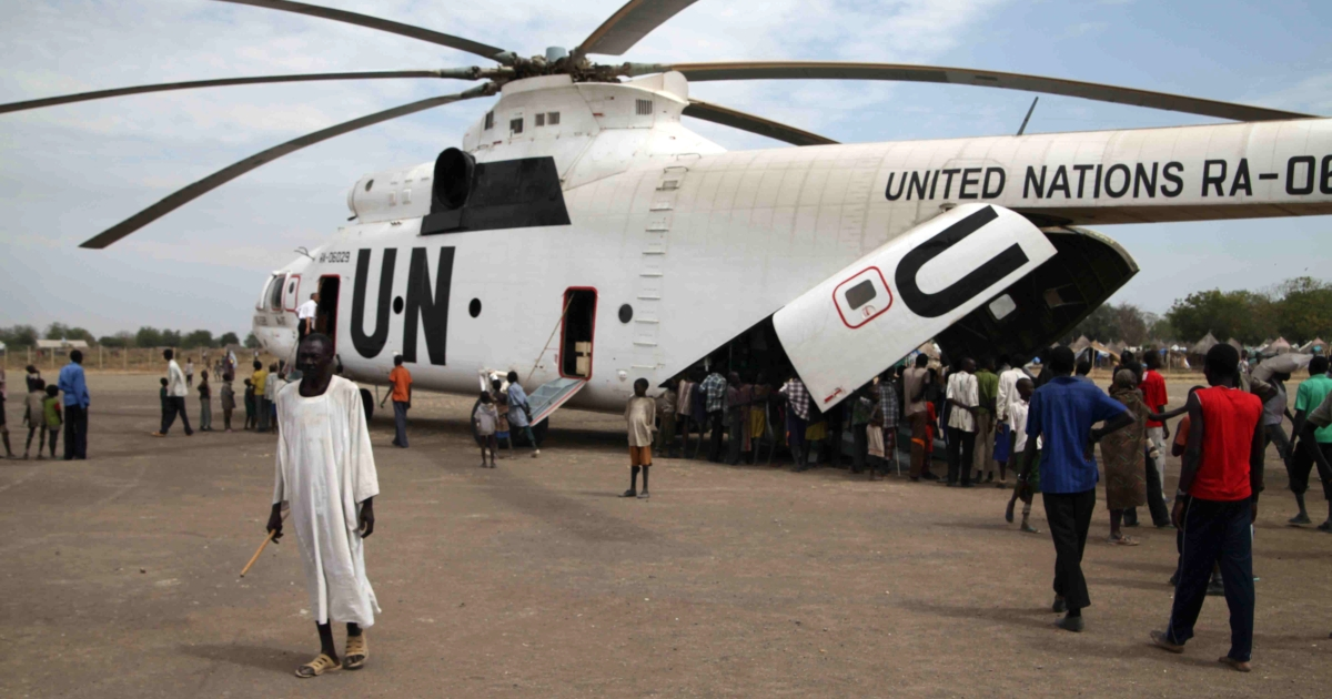The UN attempts to mitigate the South Sudan crisis by providing food from the UN's World Food Program on January 12, 2012.</p>