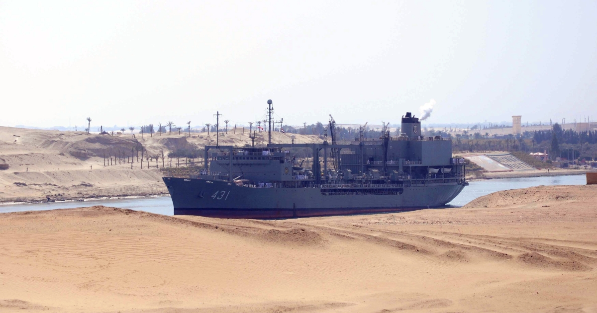 An Iranian destroyer and a supply ship sailed through the Suez Canal into the Mediterranean en route to Syria. The Iranian support ship Kharg travelled a similar route on Feb. 22, 2011, on a mission Israel described as a