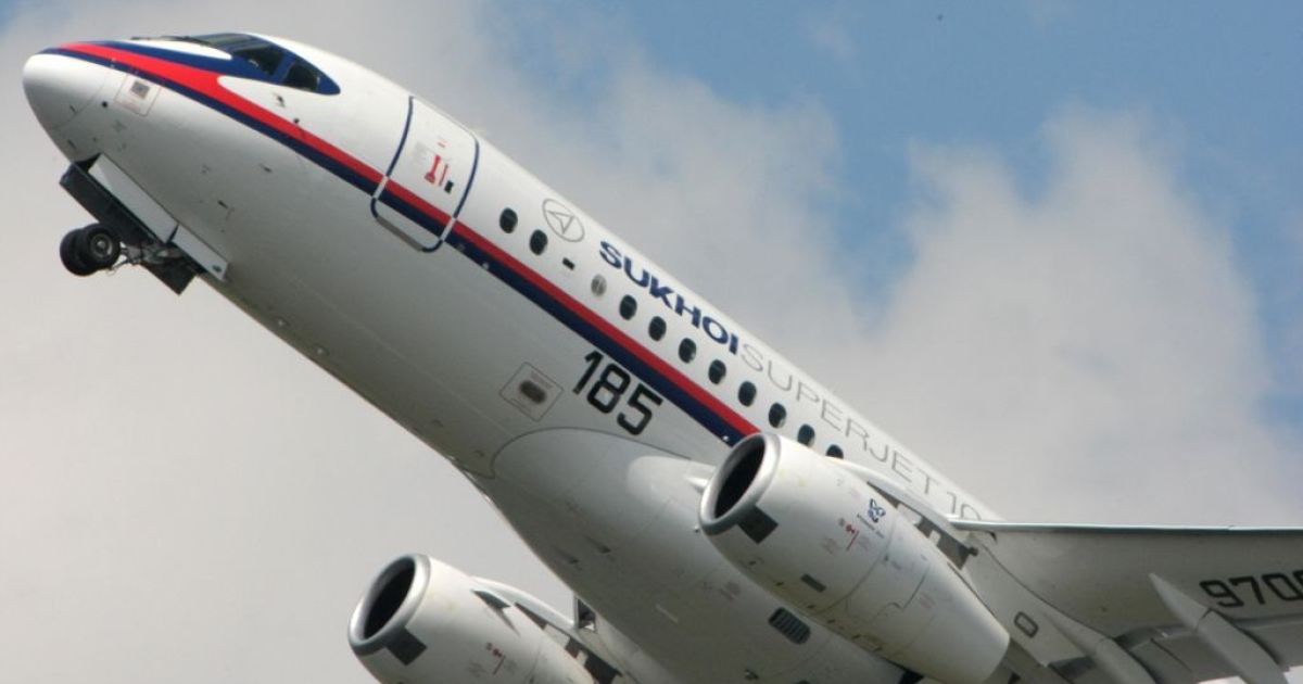 The Russian Sukhoi Superjet 100 at the international Paris Air Show in 2009. An SSJ 100 has gone missing over Indonesia in the middle of a demonstration flight.</p>
