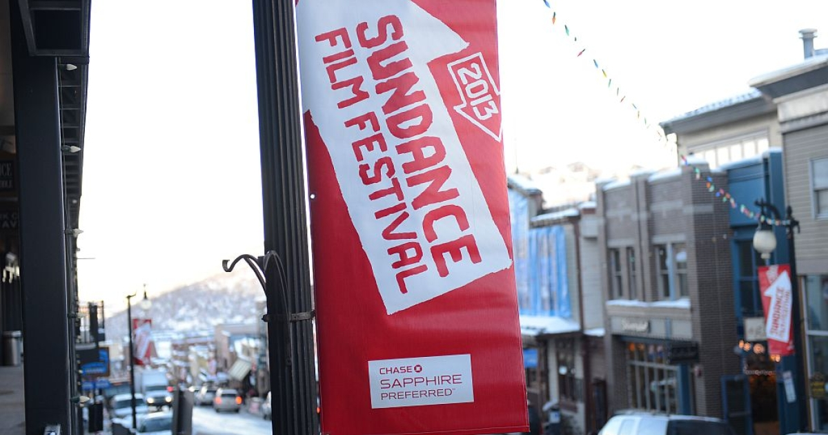 Sundance Film Destival banner January 16, 2013 in Park City, Utah.</p>
