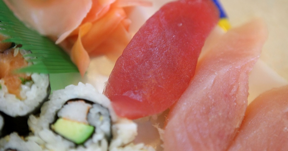 A piece of Bluefin Tuna (Maguro) sits on a sushi plate at Yum Yum Fish March 19, 2010 in San Francisco, California.</p>