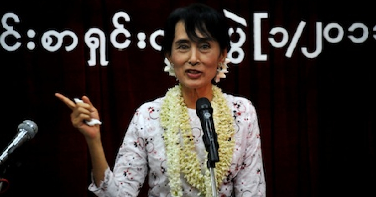Myanmar democracy icon Aung San Suu Kyi talks during the press conference on the anniversary of her release at the National League for Democracy (NLD) headquarters in Yangon, Myanmar.</p>