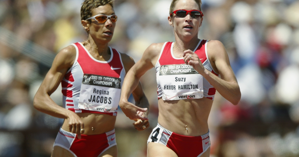 Suzy Favor Hamilton (r) and Regina Jacobs (l) finish 1 and 2 in the women's 1500m final at the USA Outdoor Track and Field Championships on June 21, 2003, at Cobb Track and Angell Field at Stanford University in Palo Alto, Calif.</p>