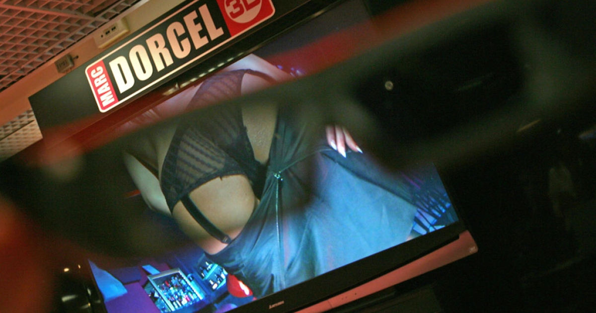 Pornography is seen through 3D glasses on April 13, 2010  in Cannes, southern France, during the MIPTV, one of the world's largest broadcasting and audio-visual trade shows.</p>