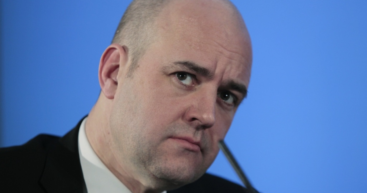 Prime Minister of Sweden Fredrik Reinfeldt pauses during the UK Nordic Baltic Summit at Downing Street on January 20, 2011 in London, England.</p>