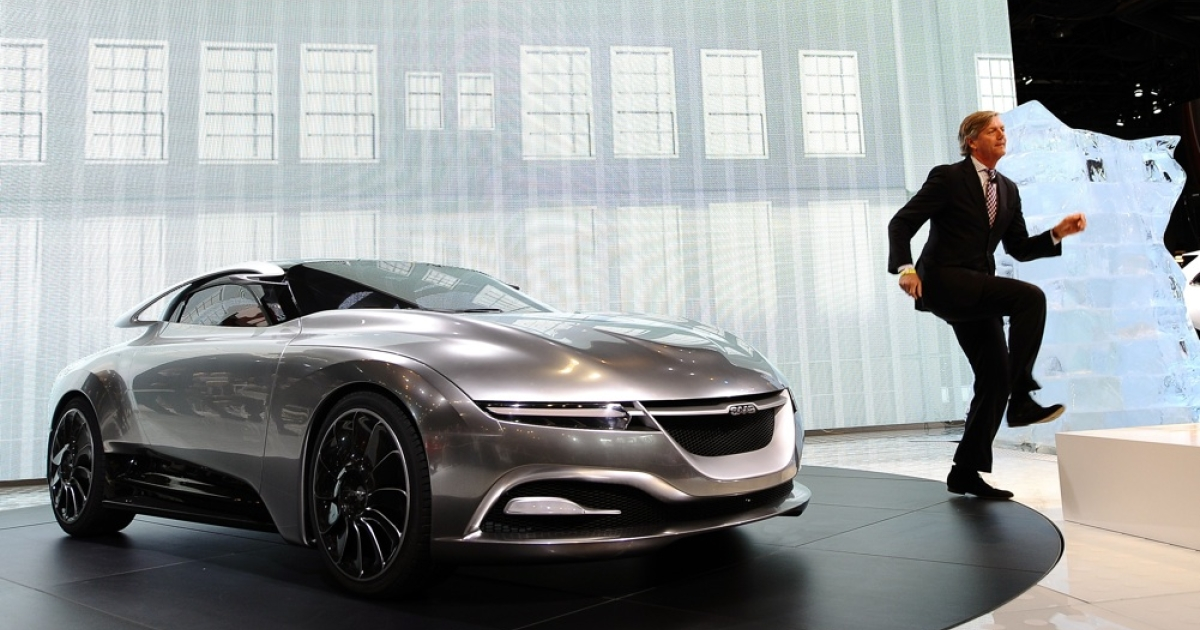 Victor Muller, Saab chief executive, introduces the PhoeniX Concept Car at the Jacob Javits Convention Center in New York in April 2011. Two Chinese companies agreed to buy Saab late last week, after the Swedish government declined to save it from bankruptcy.</p>