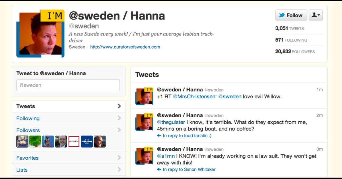 Sweden's Twitter account is currently in the hands of Hanna, a lesbian truck driver.</p>