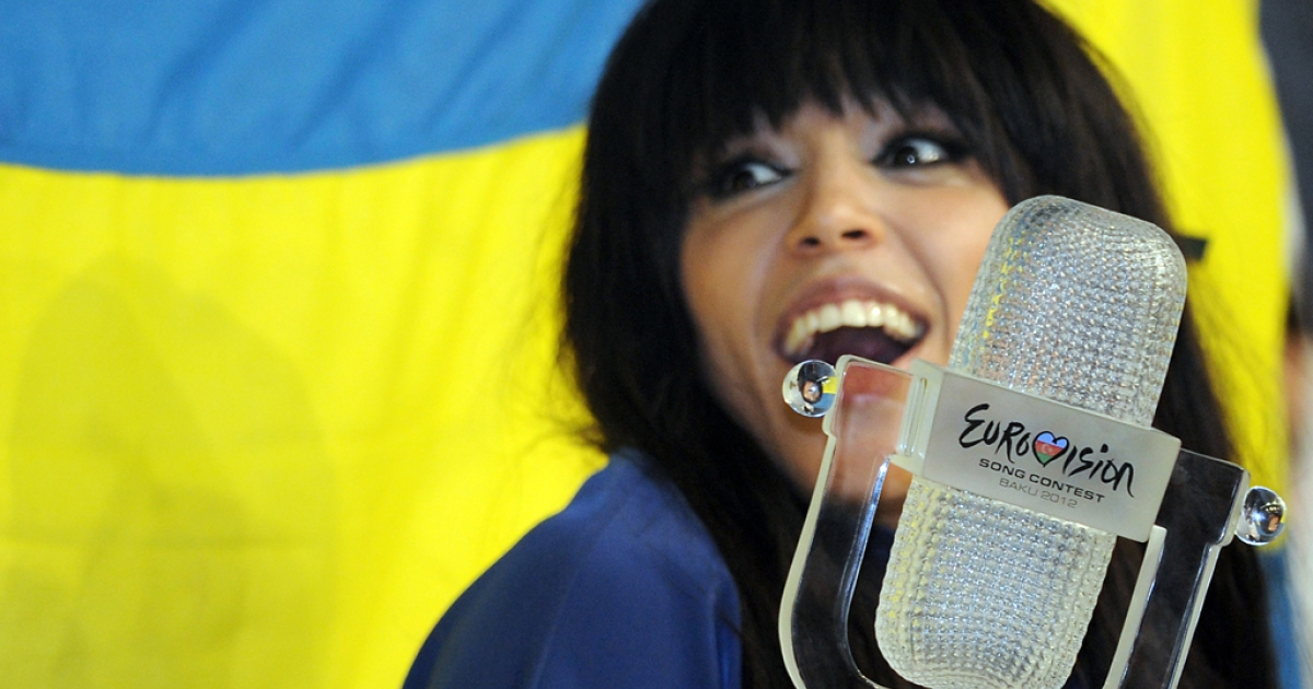 Sweden's Loreen, the winner of the Eurovision 2012, poses for a photo during her press conference in Azerbaijan's capital, Baku, early on May 27, 2012.</p>
