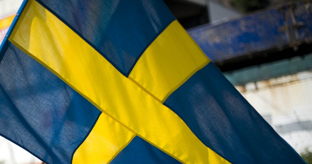 A Swedish flag in Gothenburg, southwest Sweden, on May 21, 2011.</p>