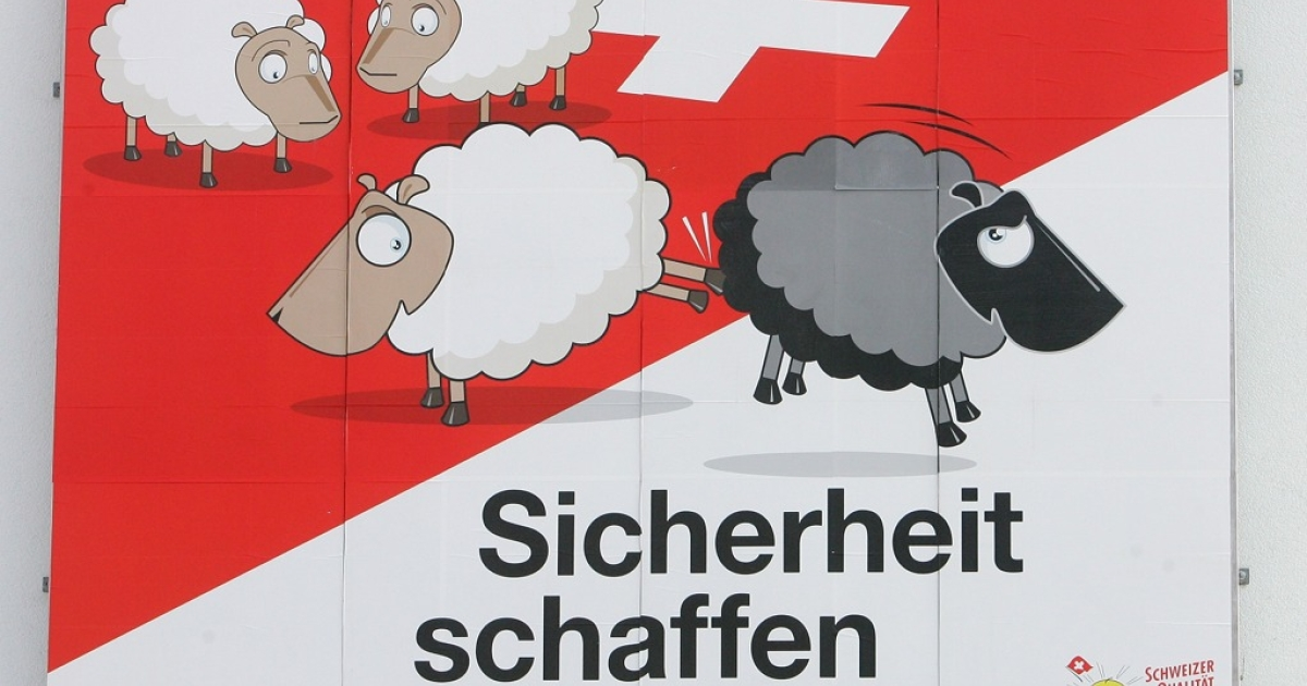An election poster of the Swiss People's Party (SVP) for the Switzerland's 2007 federal elections hangs in Basel.  The party has come under heavy international criticism for leading a campaign that emphasizes sharp measures against immigrants.</p>
