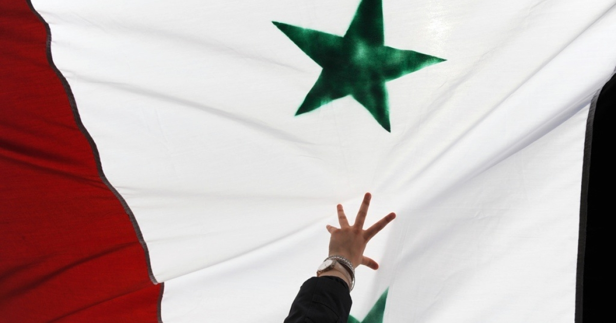 A woman holds up a Syrian flag during a demonstration in Turkey on July 29, 2011.</p>