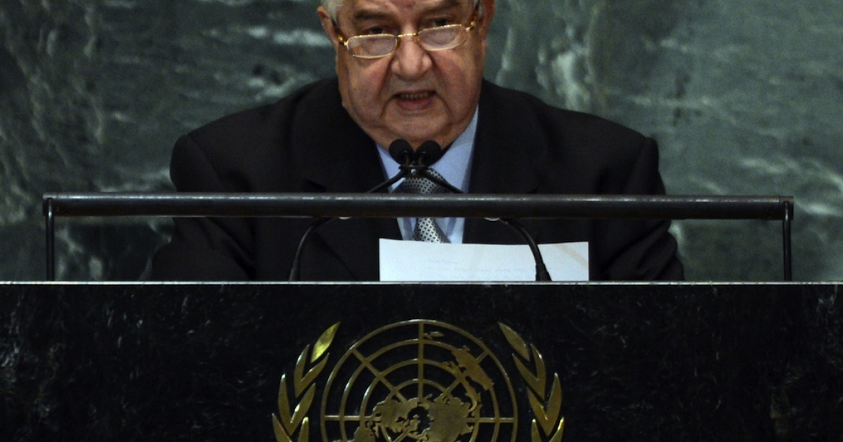 Syrian Foreign Minister Walid Moallem speaks during the 67th session of the United Nations General Assembly in New York on October 1, 2012.</p>